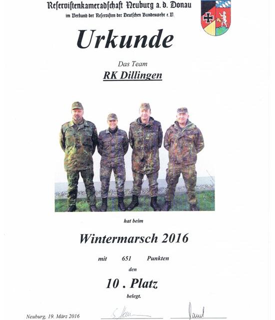 KrsGrp beim 32. Neuburger Wintermarsch vertreten durch RK Dillingen/Wertingen