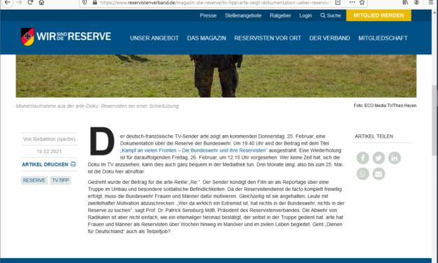 Reservisten und Bundeswehr im TV am Donnerstag 25.02.2021